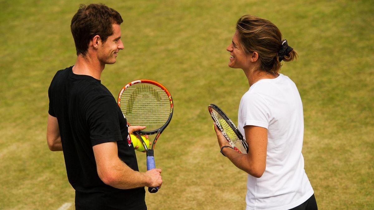 Andy Murray et Amélie Mauresmo à l'entraînement à Wimbledon