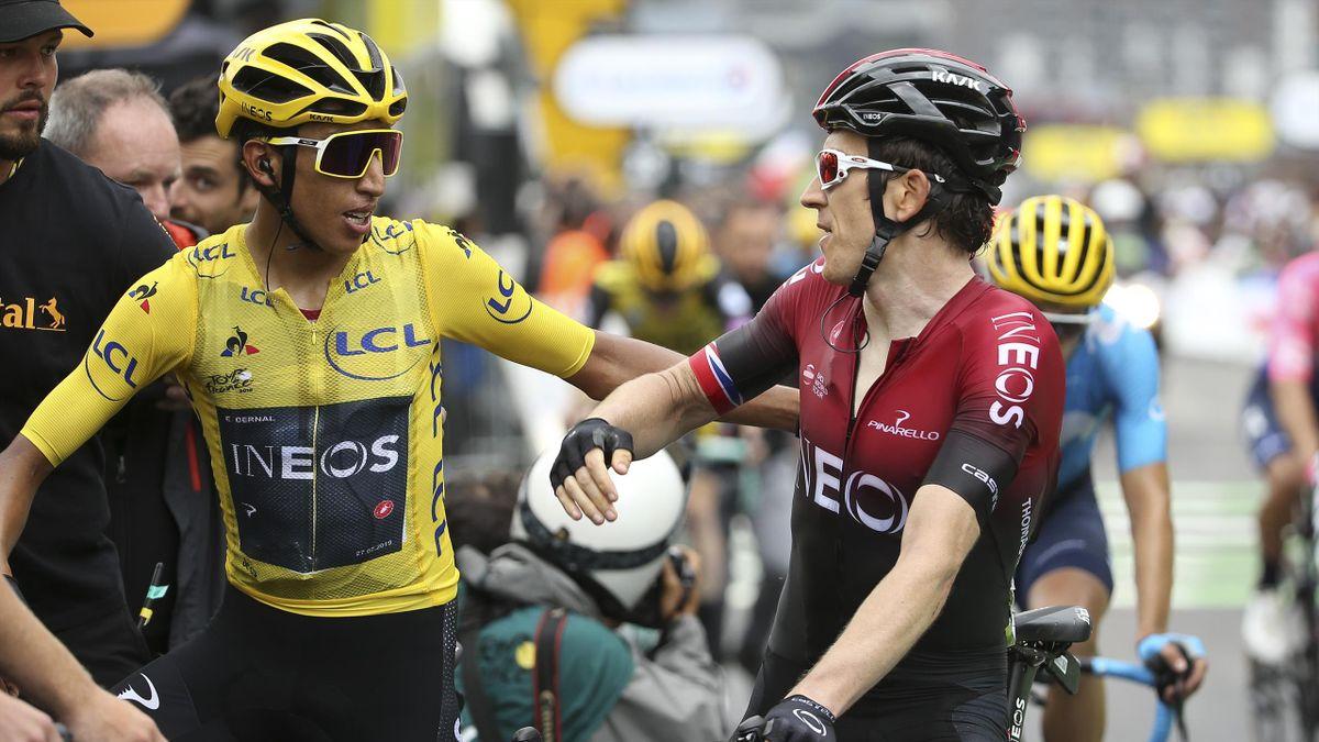 Egan Bernal et Geraint Thomas lors du Tour de France 2019
