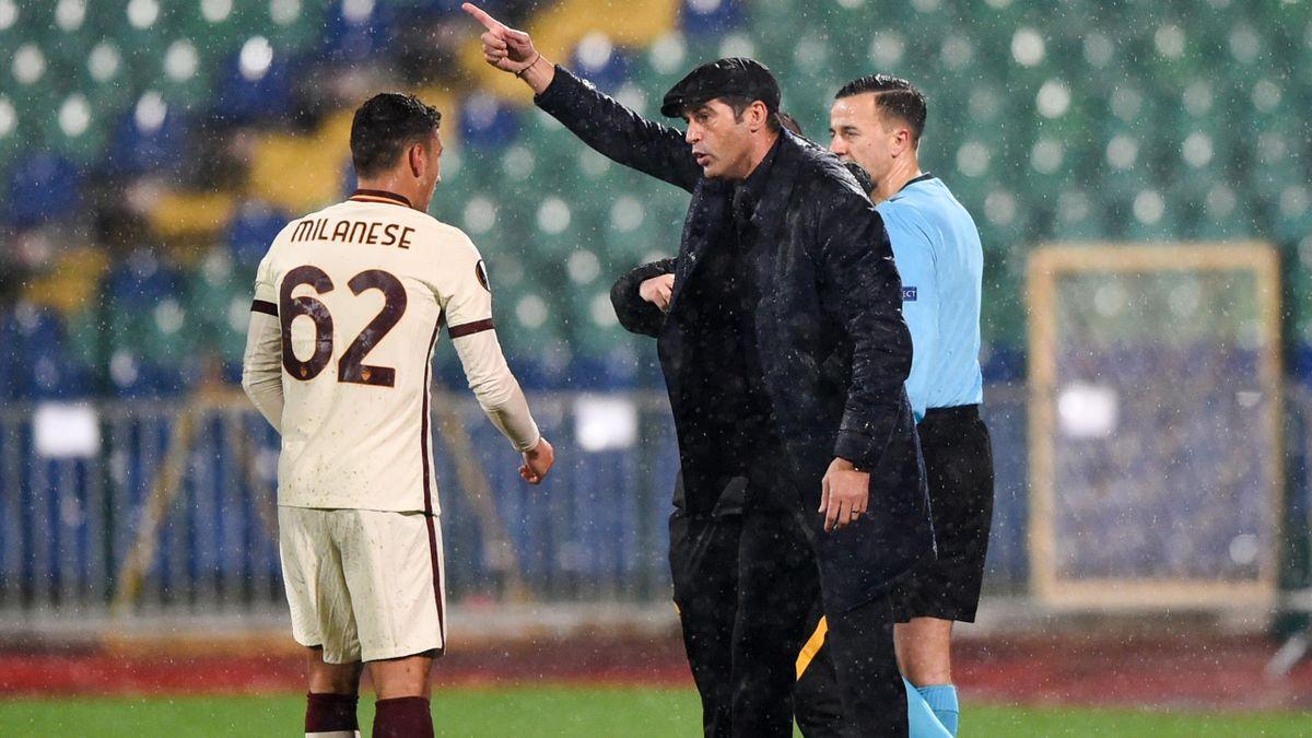 Milanese parla con Fonseca durante CSKA Sofia-Roma