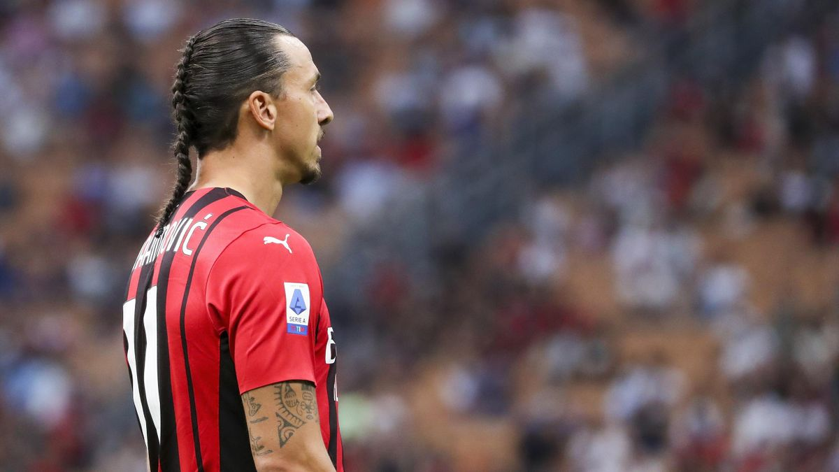 Zlatan Ibrahimovic of AC Milan looks on during the Serie A match between AC Milan and SS Lazio
