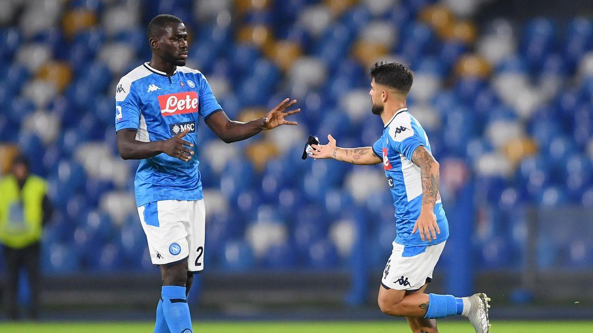 Kalidou Koulibaly et Lorenzo Insigne le 9 novembre 2019 lors de Napoli - Genoa