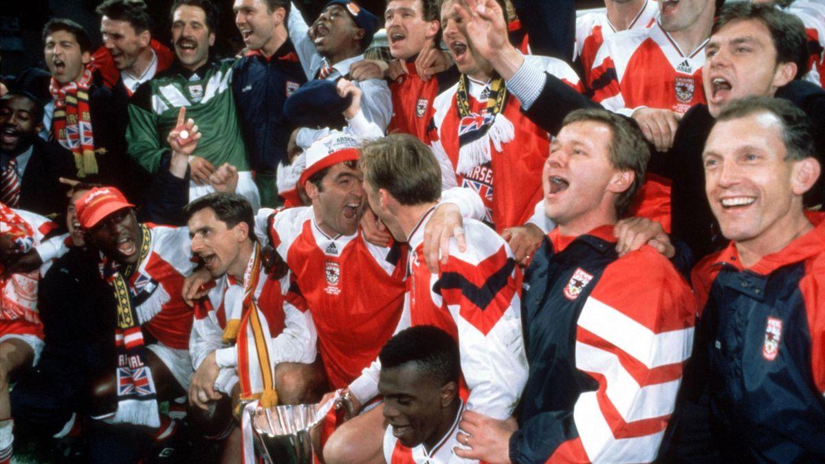 Arsenal celebrate their trophy win in Copenhagen