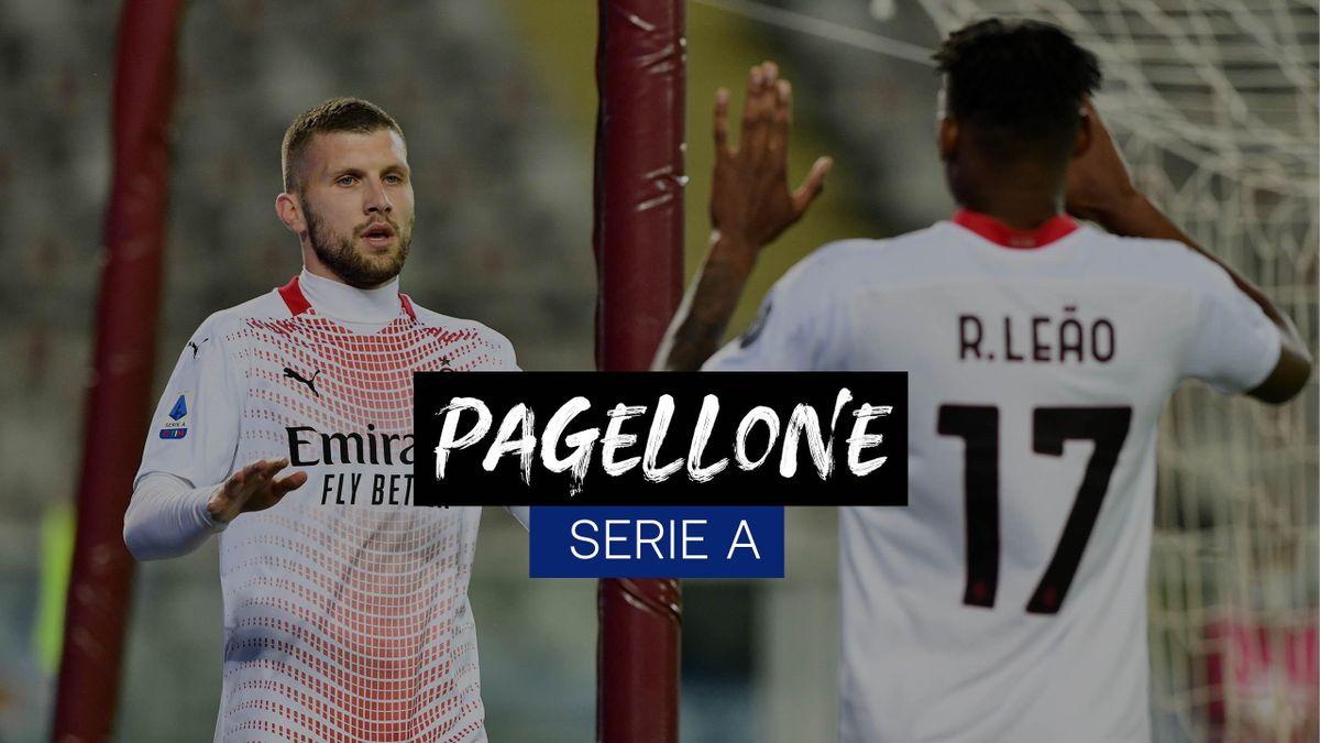 Ante Rebic esulta insieme a Rafael Leao: il croato è stato mattatore del match col Torino segnando una tripletta, Getty Images