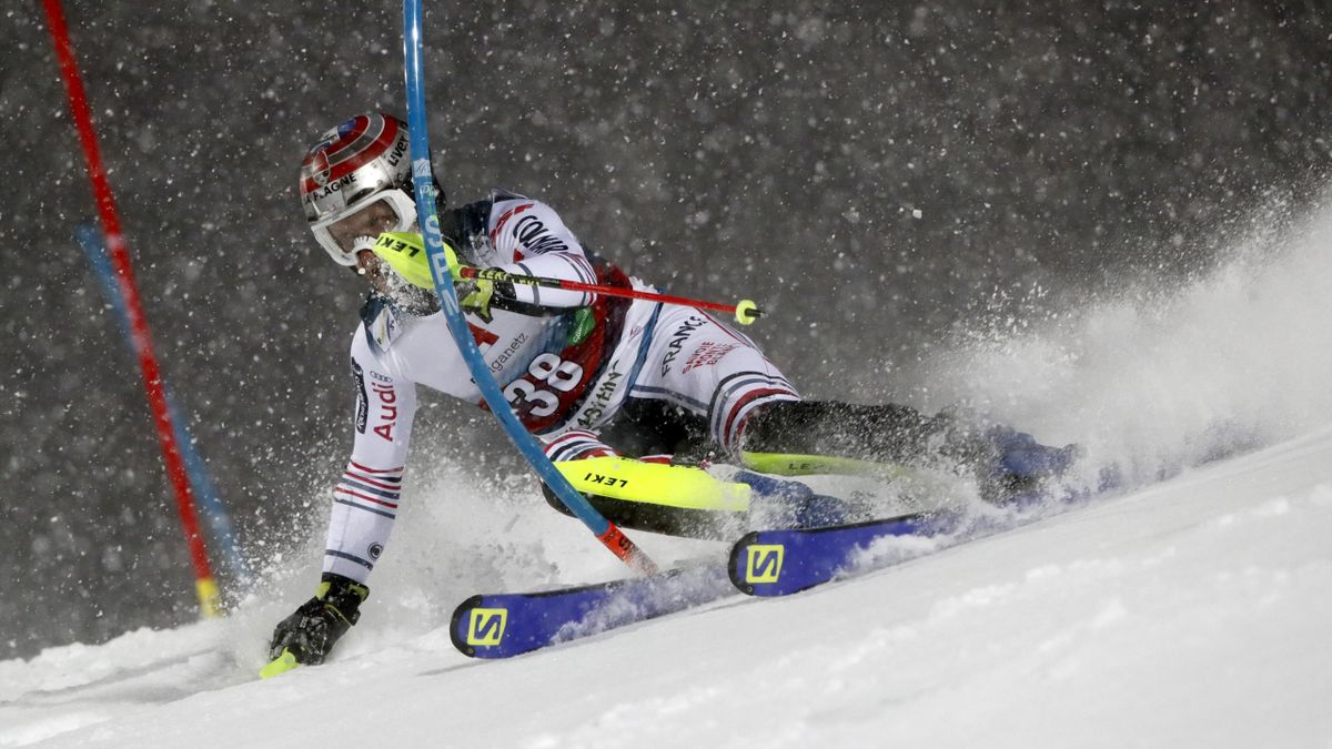Julien Lizeroux of France in action during the Audi FIS Alpine Ski World Cup Men's Slalom on January 26, 2021 in Schladming Austria.