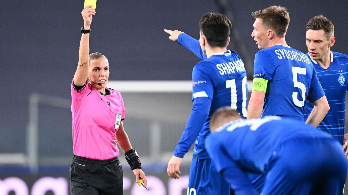 Referee Stephanie Frappart books a Dynamo Kiev player