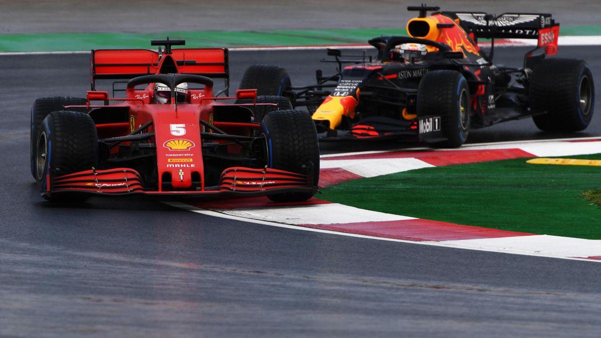 Sabastian Vettel (l.) vor Max Verstappen beim Grand Prix in Istanbul