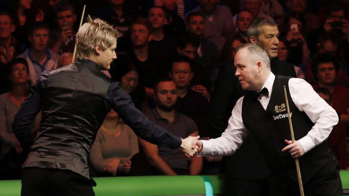 John Higgins shakes hands with Neil Robertson
