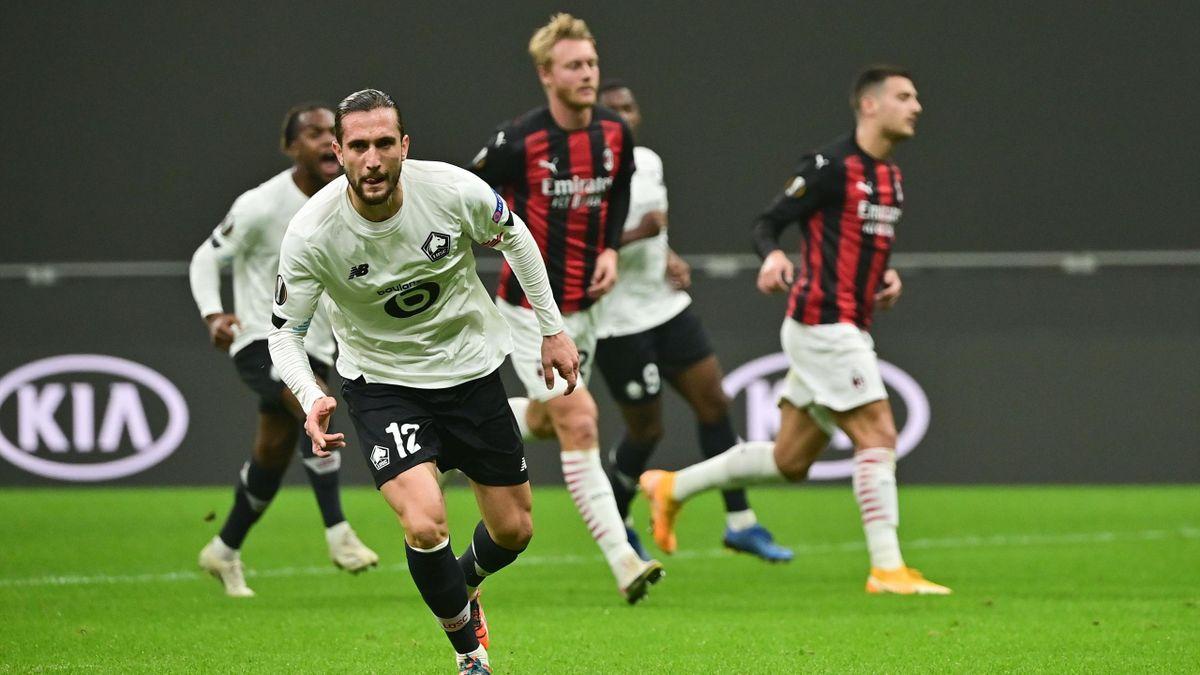 Yusuf Yazici a ouvert le score pour Lille face au Milan AC