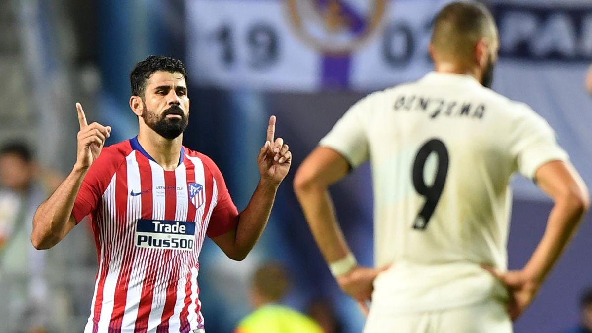 L'esultanza di Diego Costa dopo il gol in Real Madrid-Atletico Madrid, Supercoppa Europea, Getty Images