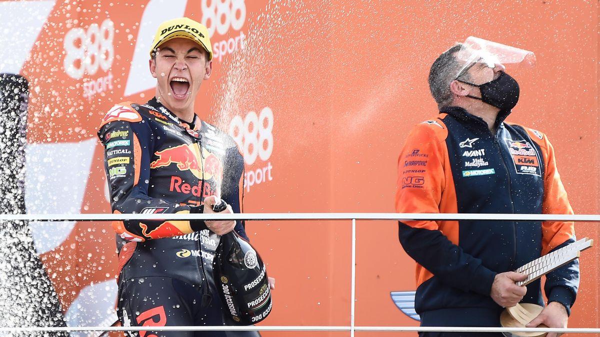Raul Fernandez festeggia la prima vittoria nel motomondiale, Moto3, GP Europa, Getty Images