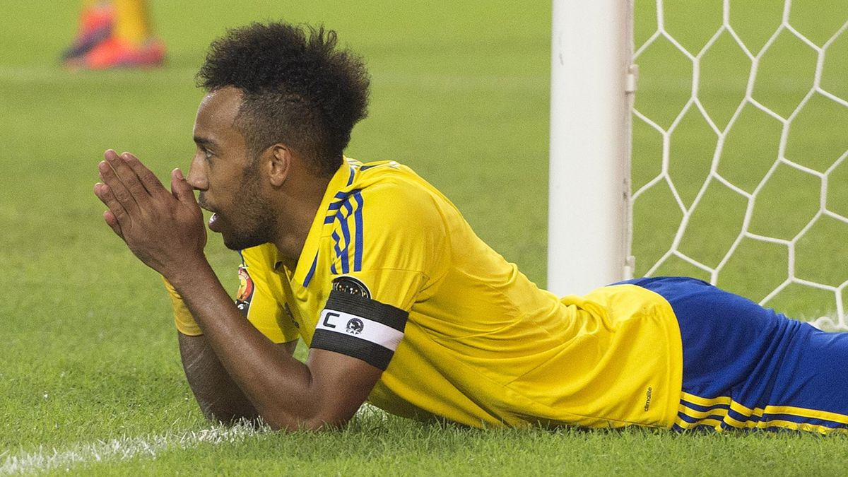 PIERRE EMERICK AUBAMEYANG of Gabon reacts to a missed chance during the Group A match between Cameroon and Gabon at Stade de L'Amitie on January 22, 2017 in Libreville, Gabon