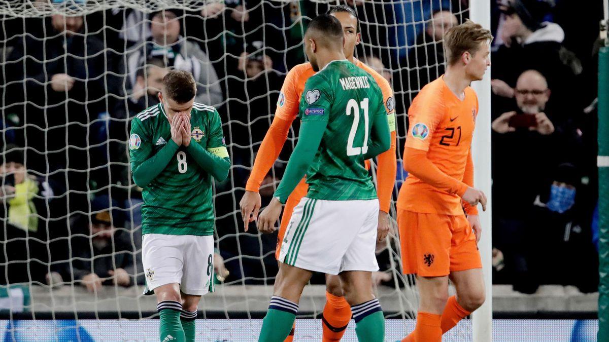 Steven Davis of Northern Ireland during the EURO Qualifier match between Northern Ireland v Holland at the Windsor Park on November 16, 2019 in Belfast United Kingdom