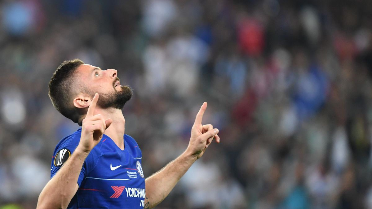 Chelsea's French striker Olivier Giroud celebrates after scoring a goal during the UEFA Europa League final football match between Chelsea FC and Arsenal FC at the Baku Olympic Stadium in Baku, Azerbaijian, on May 29, 2019