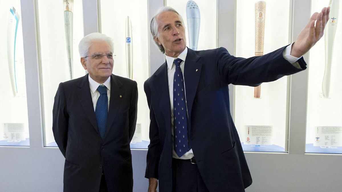 Sergio Mattarella insieme a Giovanni Malagò, LaPresse