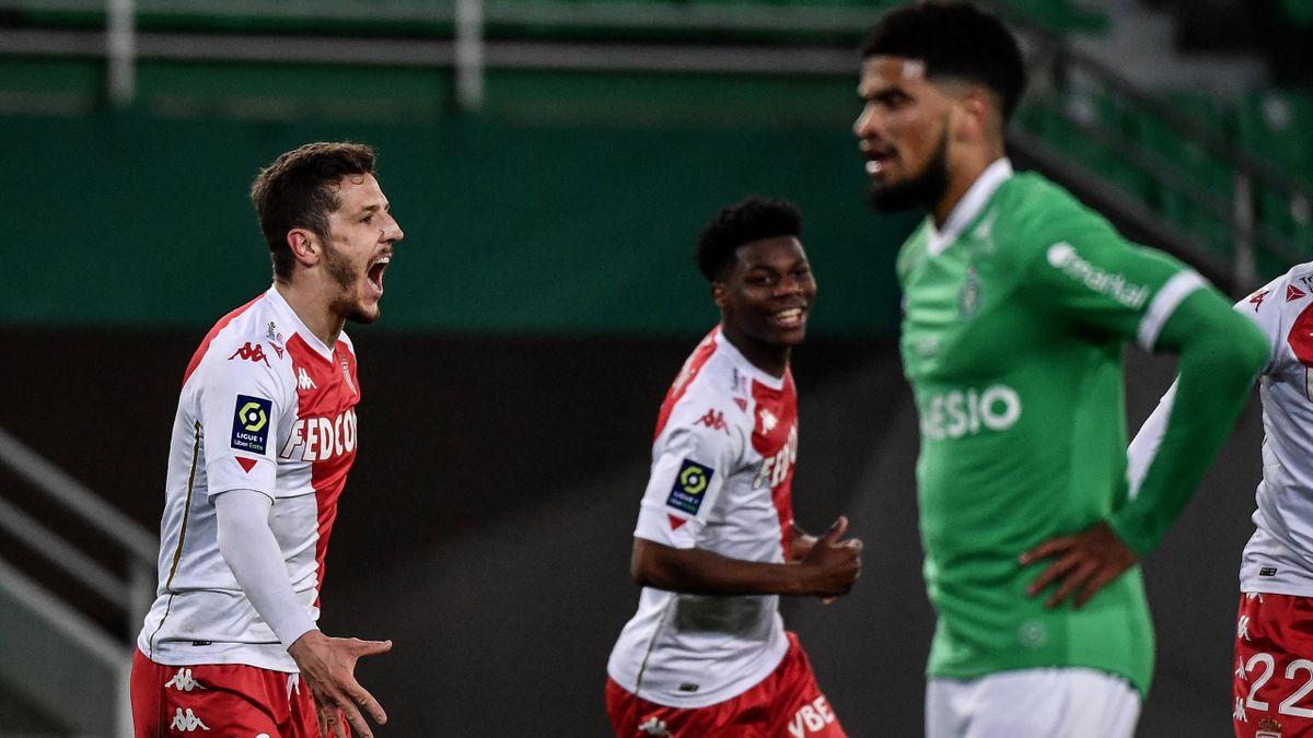 Stevan Jovetic (links; AS Monaco) bejubelt seinen Führungstreffer gegen AS St. Etienne