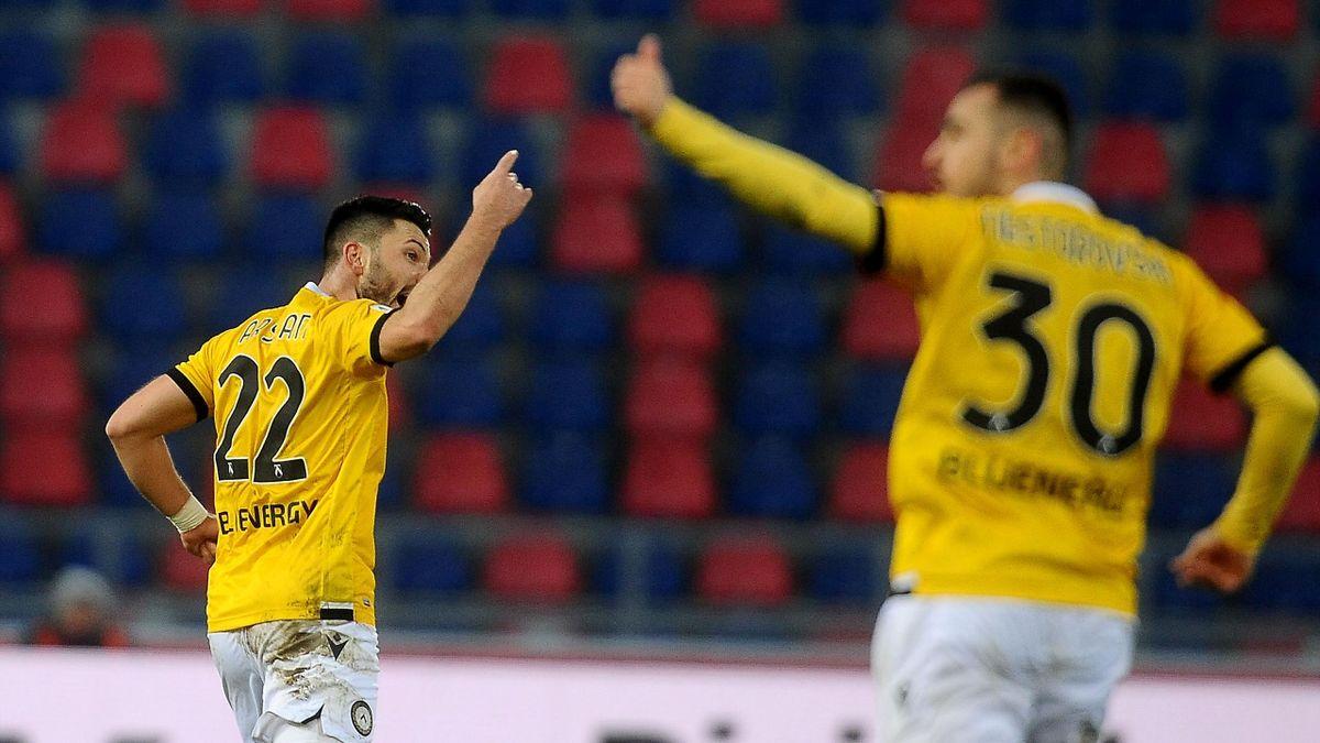 Arslan esulta dopo il gol del 2-2 contro il Bologna, Bologna-Udinese, Serie A 2020-21, Getty Images