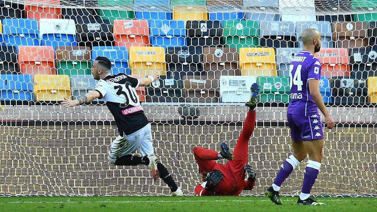L'esultanza di Nestorovski, Udinese-Fiorentina