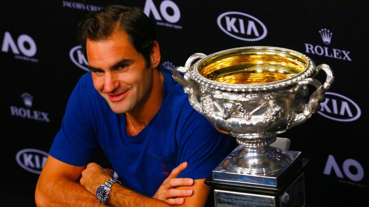Roger Federer after winning the Australian Open