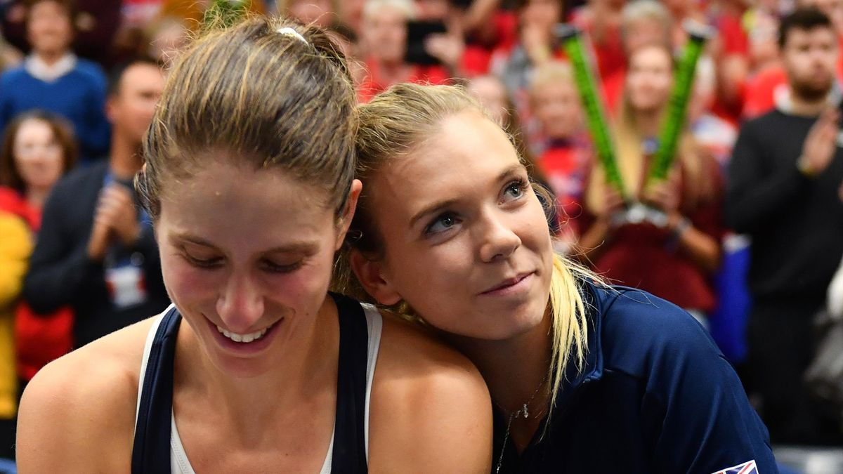 Johanna Konta is embraced by Katie Boulter of Great Britain after winning during Day Four of the Fed Cup Europe and Africa Zone Group I at the University of Bath on February 09, 2019 in Bath, England