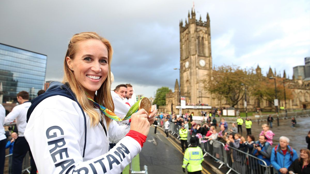 Helen Glover of Great Britain during a Rio 2016 Victory Parade for the British Olympic and Paralympic teams on October 17, 2016 in Manchester, England