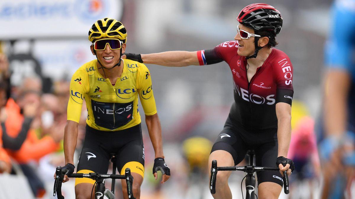 Egan Bernal et Geraint Thomas à l'arrivée de la 20e étape du Tour de France