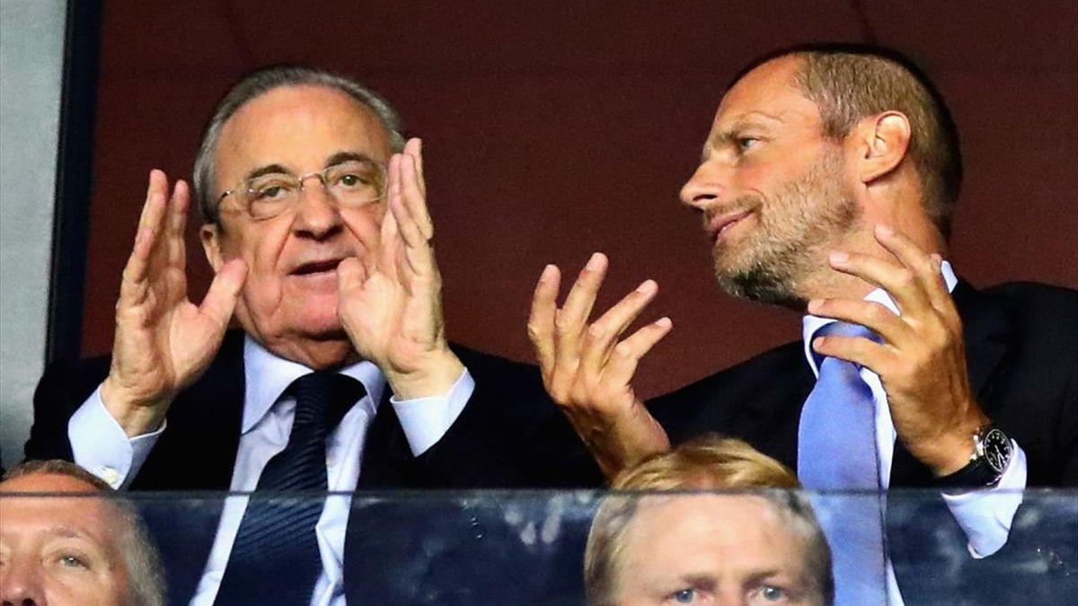 Florentino Perez (presidente del Real Madrid) e Aleksander Ceferin (presidente dell'Uefa)
