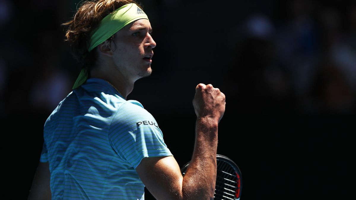 Alexander Zverev of Germany celebrates winning a point in his first round match against Thomas Fabbiano