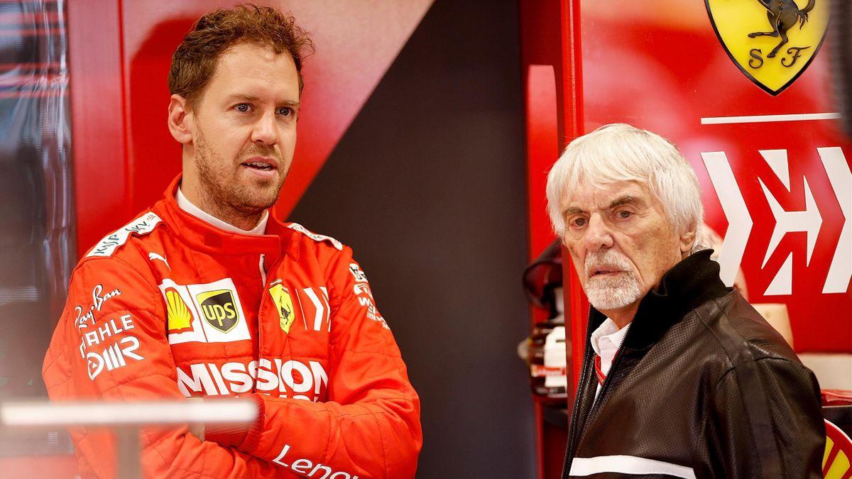 Sebastian Vettel (links) und Ex-Formel-1-Boss Bernie Ecclestone