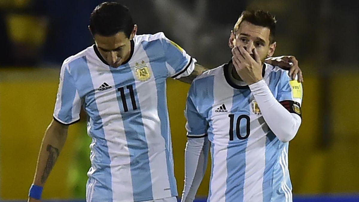 Angel Di Maria et Lionel Messi sous le maillot de l'Argentine.