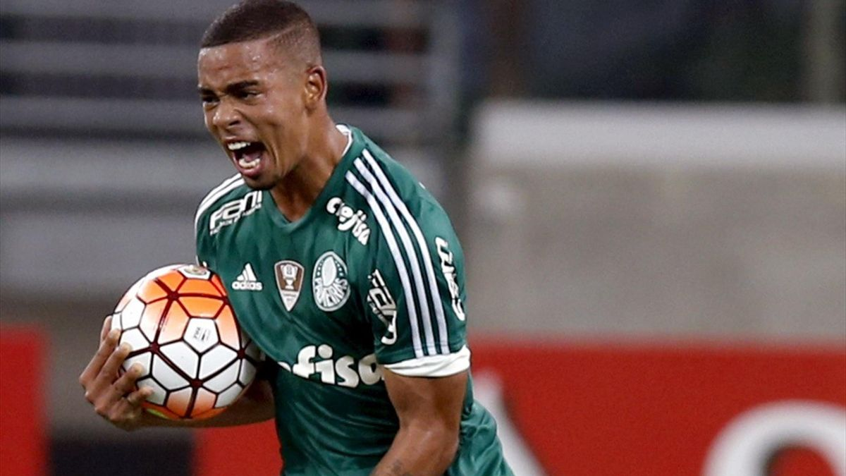 Gabriel Jesus of Palmeiras celebrates after scoring a goal.