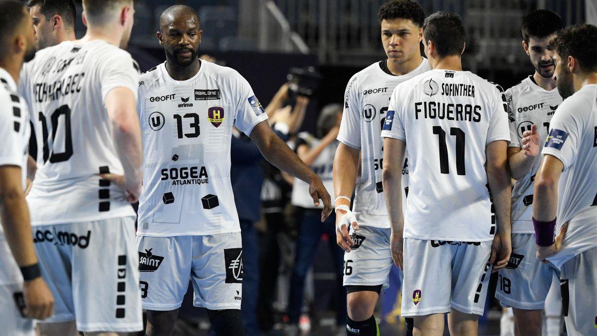 Le HBC Nantes de Rock Feliho (numéro 13 au centre), va défier le PSG lors du match pour la 3e place du Final Four 2021