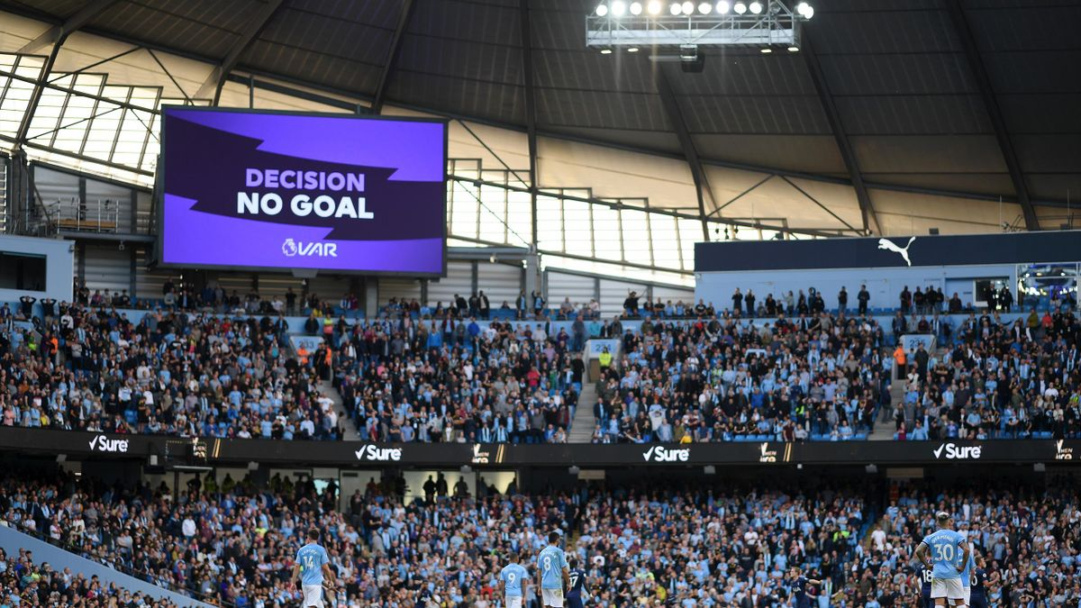 The big screen shows the VAR decision of No Goal for Gabriel Jesus of Manchester City third goal during the Premier League