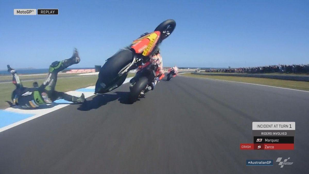 Australian GP - Moto GP - crash Zarco + Marquez give up