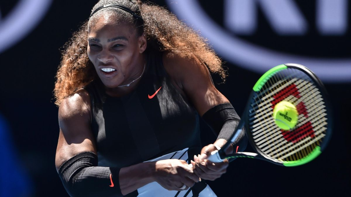 Serena Williams of the US hits a return against Nicole Gibbs of the US during their women's singles third round match on day six of the Australian Open tennis tournament in Melbourne on January 21, 2017.
