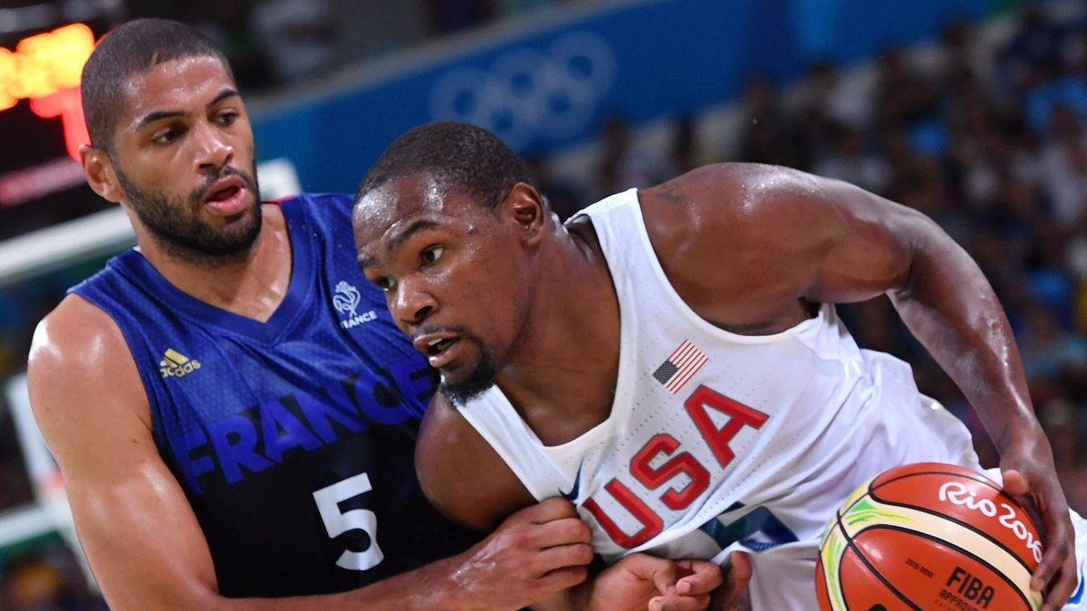 Nicolas Batum face à Kevin Durant - BAsket France USA JO Rio 2016