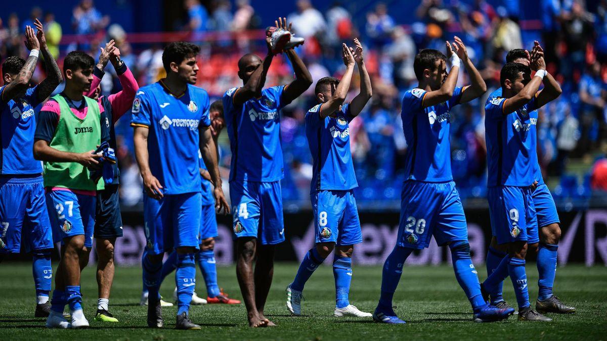 Les joueurs de Getafe fêtent leur victoire face à Gérone lors de la 36e journée de Liga 2018/2019