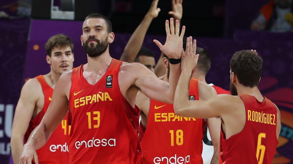 Marc Gasol celebra una canasta con España (Eurobasket 2017)