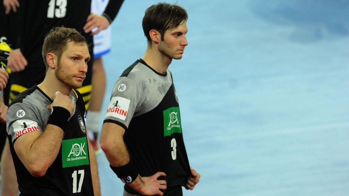 Steffen Weinhold (l.) und Uwe Gensheimer 2018 im Trikot der deutschen Handball-Nationalmannschaft