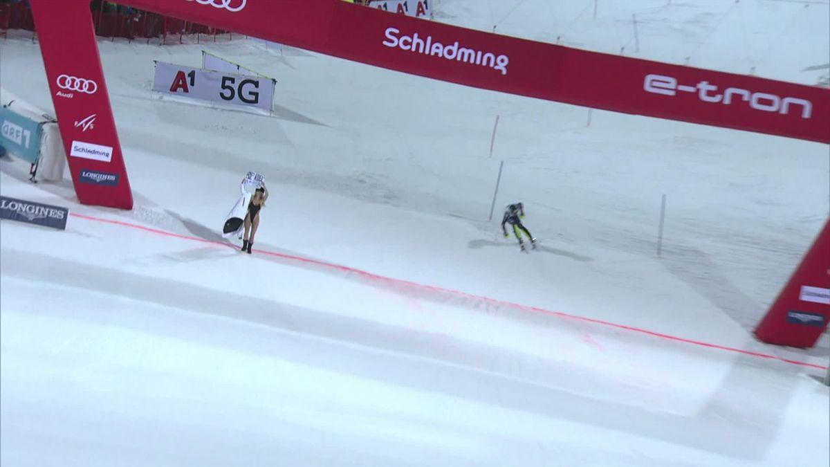 Alpine Ski World Cup - Men's Slalom : A girl is crossing the line