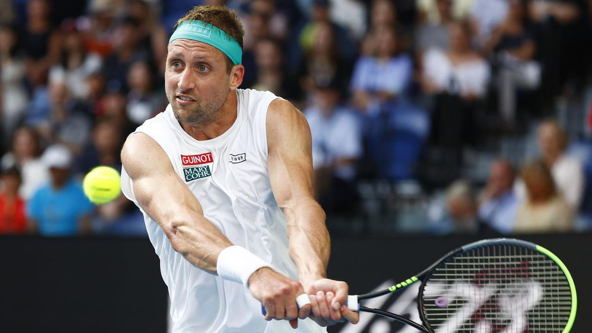 Tennys Sandgren in action at the 2020 Australian Open