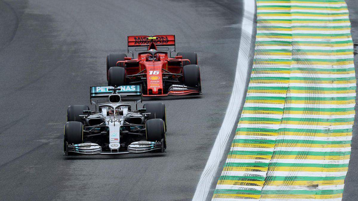 Lewis Hamilton (Mercedes) et Charles Leclerc (Ferrari) au Grand Prix du Brésil 2019