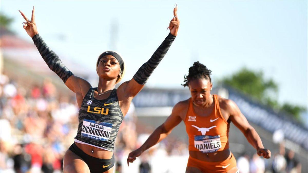 Sha'Carri Richardson bei einem 100-Meter-Lauf im Jahr 2019