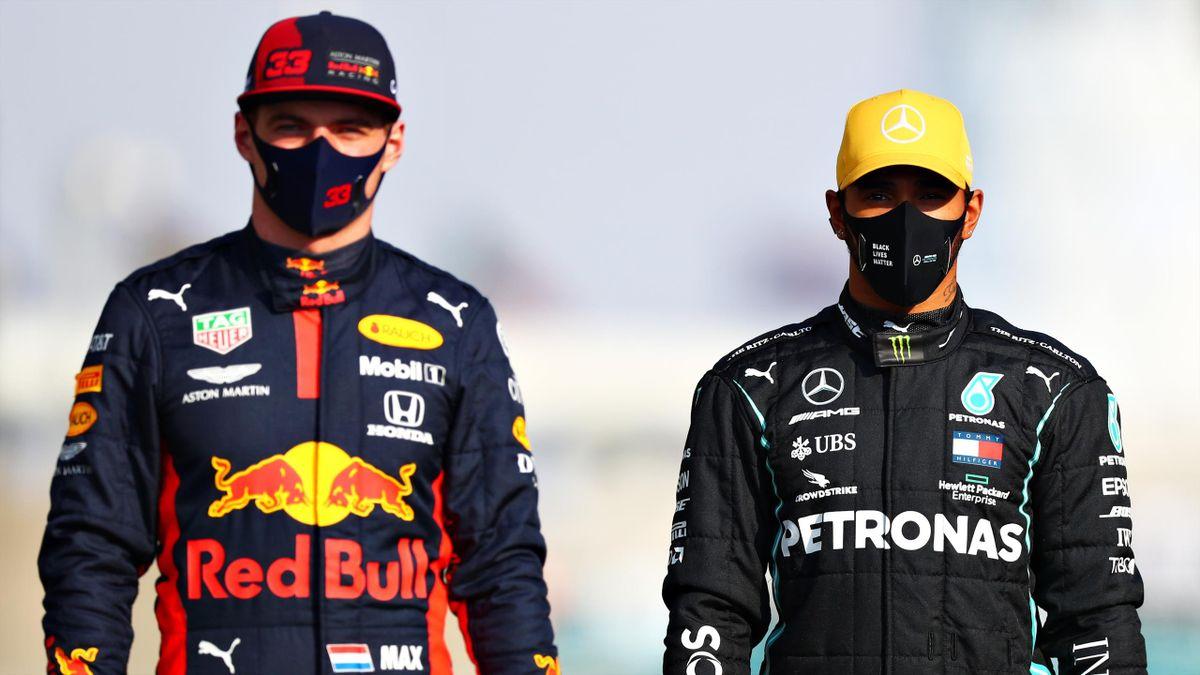 Red-Bull-Star Max Verstappen (links) und Mercedes-Weltmeister Lewis Hamilton