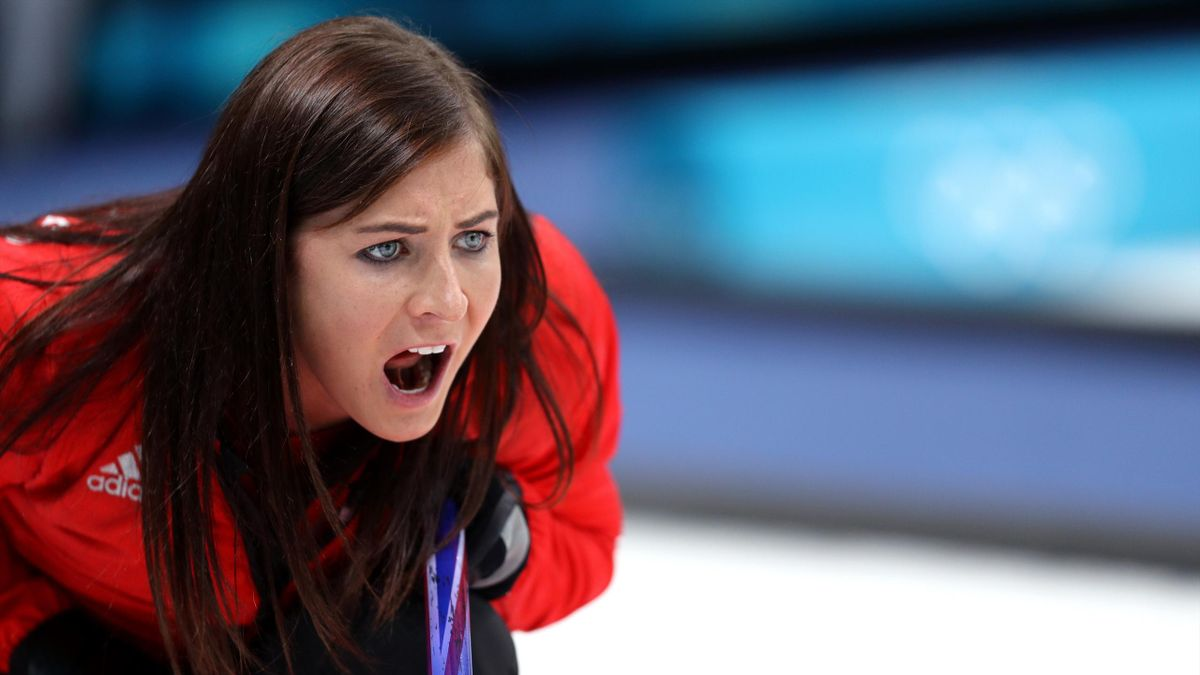 Eve Muirhead of Great Britain directs her team during Women's Round Robin Session 9 on day 10 of the PyeongChang 2018 Winter Olympic Games at Gangneung Curling Centre on February 19, 2018 in Pyeongchang-gun, South Korea