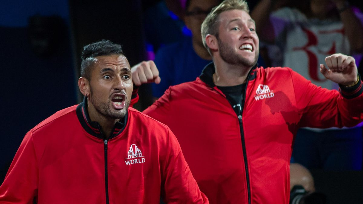 Nick Kyrgios (L) and Jack Sock at the Laver Cup