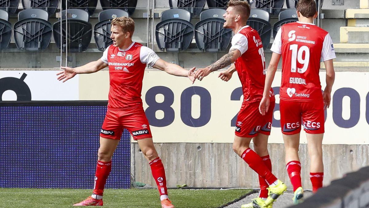Joachim Holtan og Bryne jublet for scoring og seier mot Start tidligere i år.