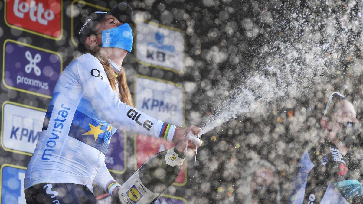 Annemiek Van Vleuten celebrates