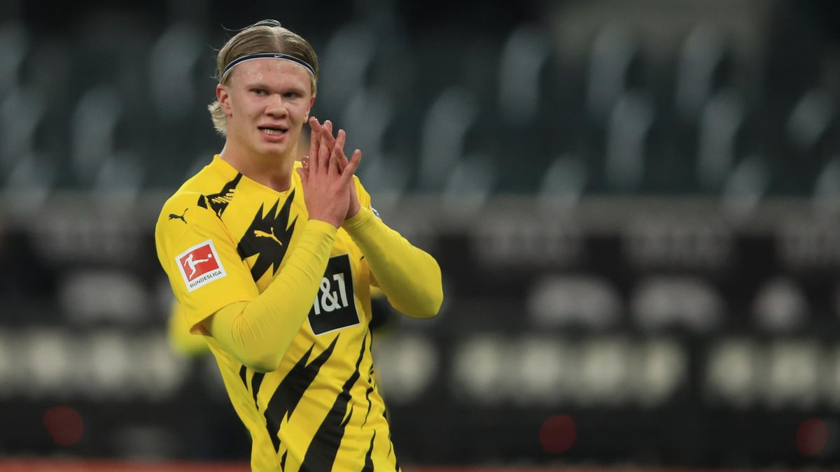 Erling Braut Haaland lors du match opposant Mönchengladbach à Dortmund, le 22 janvier 2021