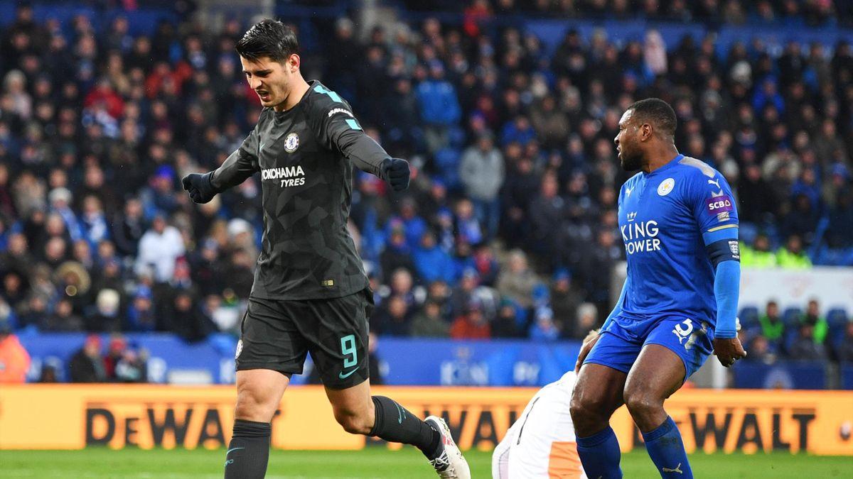Morata celebrates scoring for Chelsea