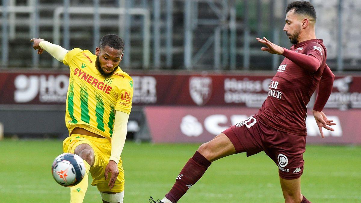 Marcus Coco face à Farid Boulaya lors de Metz-Nantes